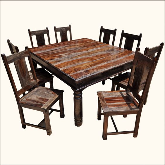 Rustic square large solid wood furniture dining table for Very small kitchen table sets