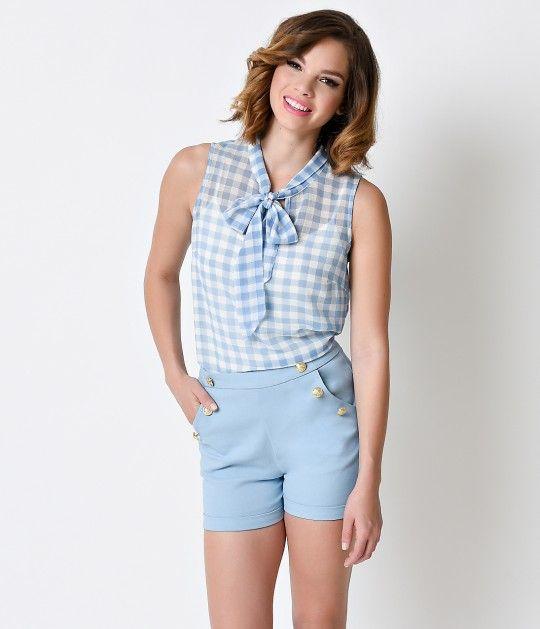 1950s Style Sky Blue & White Gingham Gauze Sheer Tie Blouse