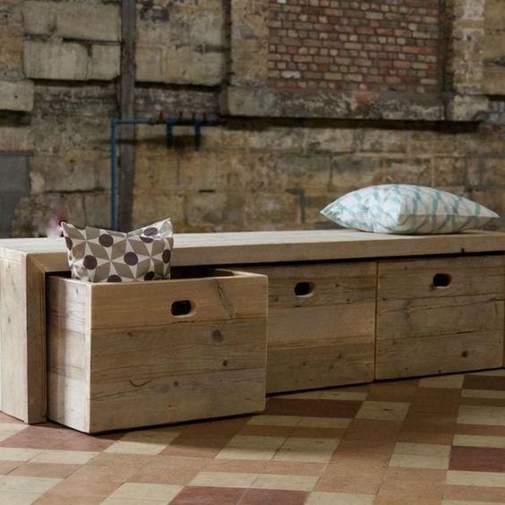wooden storage bench, Creative DIY Storage Benches, http://hative.com/creative-diy-storage-benches/,