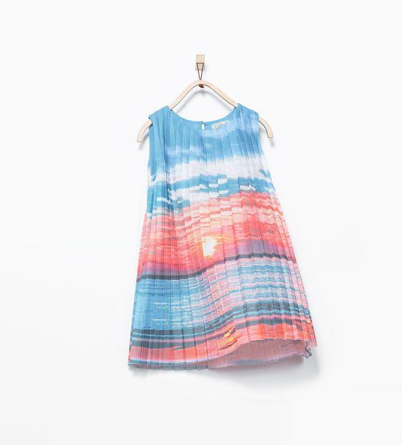 ZARA - KIDS - Sunset print pleated dress
