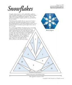 Quilting Snowflakes -  you have to take out a paid subscription to get the full pattern