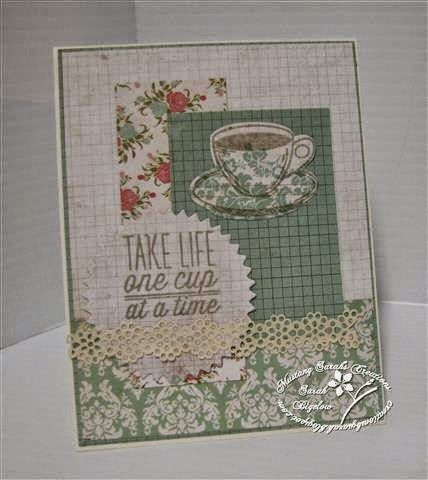 Card by Sarah Bigelow using the One Cup and Coffee sets from Verve.  #vervestamps