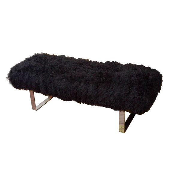 Tibetan Lamb's Wool Bench with Chrome Legs, nice and cozy at the end of your bed!