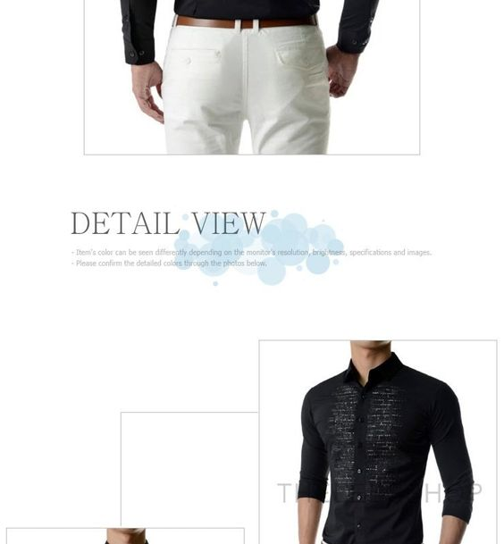 Rhinestone-Front Long-Sleeve Shirt - TheLees   YESSTYLE