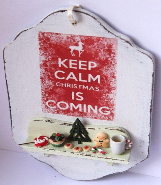 ♡ ♡  Shabby chic madera navidad hecho a mano colgada en la puerta