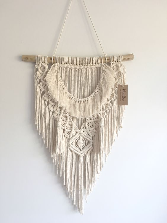 Medium Macrame Wall Hanging | Neat & Sweet 1.0 | tapestry | bohemian | macrame decor | boho decor | wall art #macramewallhanging #homedecor Branch Width: 400mm Height of overall product: 1000mm