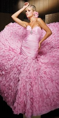 There's just something about a pink wedding dress ... absolutley love the color of this one not to bright not to light
