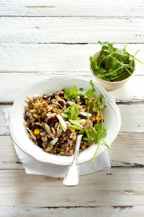 Rice salad with beans and corn