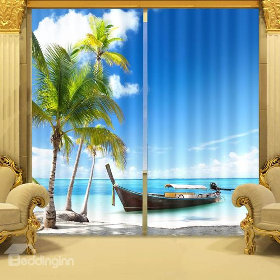 Coconut Tree and Blue Sea Print 3D Blackout Curtain on sale, Buy ...