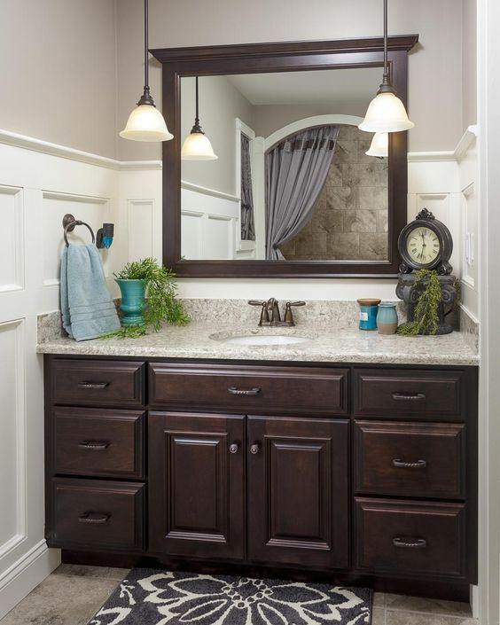Dark Wood Bathroom, Dark Brown Wood Bathroom Mirror