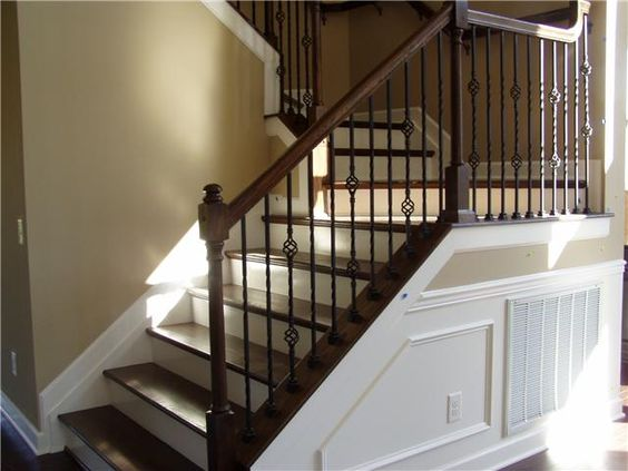 Best Dark Handrail Railing Dark Treads And White Risers 640 x 480