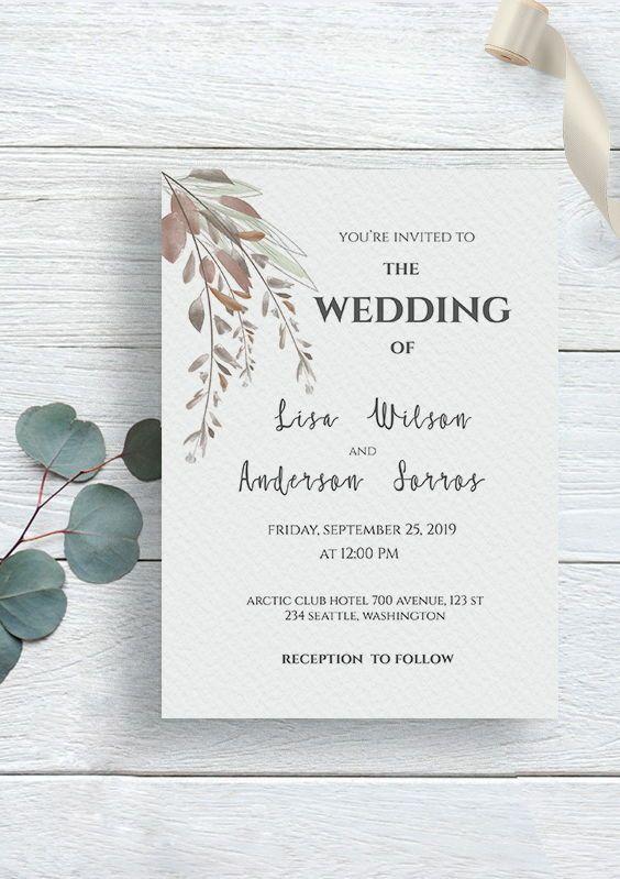 Watercolor Wedding Invitation Brown Leaf Wedding Invitation Etsy Minimal Wedding Invitation Buy Wedding Invitations Watercolor Wedding Invitations