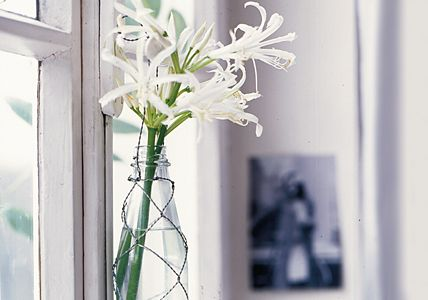 LIVING AT HOME - Hänge-Vase: Netzhemd für die Flasche