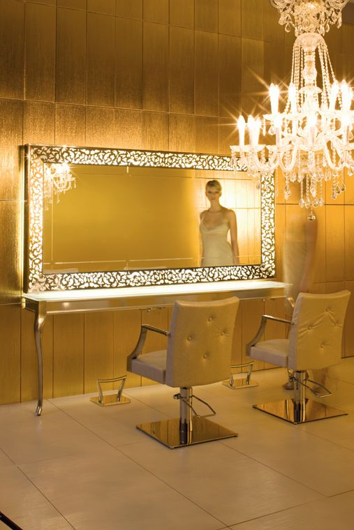 Salon furniture hair salons and salons on pinterest for Big salon mirrors