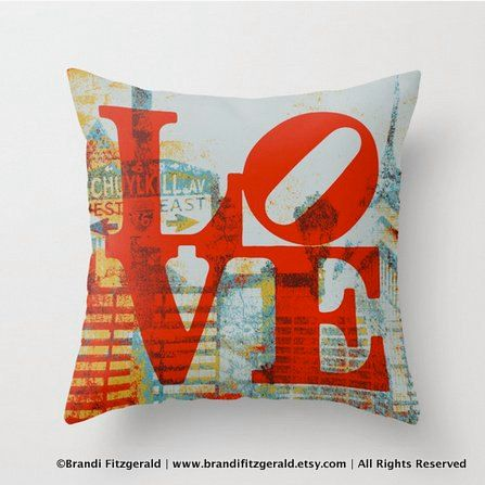Love Park Schuylkill Throw PIllow Typography Modern Decor Philadelphia Art on Etsy, $34.99