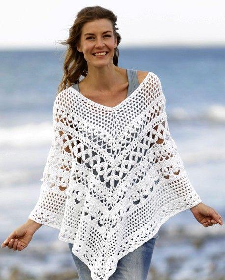 Poncho blanco manualidadesdiy crochet pinterest patrons motifs et ponchos - Se connecter a pinterest ...