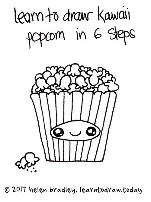 Learn To Draw Cute Popcorn In Six Steps Kawaii Drawings How To