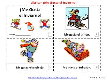 spanish me gusta el invierno booklets i like winter booklets spanish student and the o 39 jays. Black Bedroom Furniture Sets. Home Design Ideas