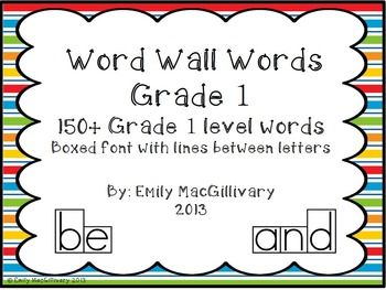 Grade 1(First) Word Wall: Boxed Font with Line between Letters ...