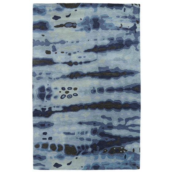 Hand-tufted Artworks Denim Tie-dye Rug (8' x 11')