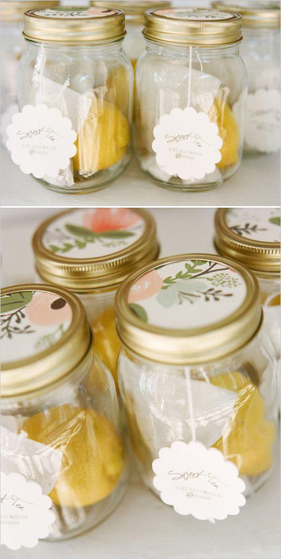 Ice tea favors with lemon and personalized wedding stickers. Event Design: Jamie Krywicki Wilson http://www.weddingchicks.com/2014/05/28/get-married-in-charleston/