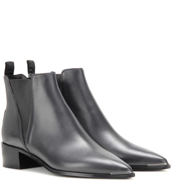 Acne Studios - Jensen leather ankle boots - The elasticated tab of Acne Studios' ankle boots is what makes them as comfortable as they are cool. The silver-tone detail to the pointed toe makes for an urban, sharp contrast to the ultra-dark grey leather. A perfect partner to skinny denim and high hemlines, these are sure to become a staple pair. seen @ www.mytheresa.com