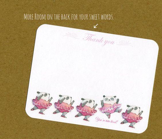 So cute!!!!   Thank You Card-Teeny Ballerinies-Flat Notecard. $10.00, via Etsy.