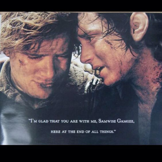 """""""I'm glad that you are with me, Samwise Gamgee, here at the end of all things."""""""