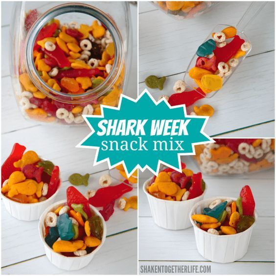 Shark Week Snack Mix Recipe Ocean Theme Snacks Shark Snacks