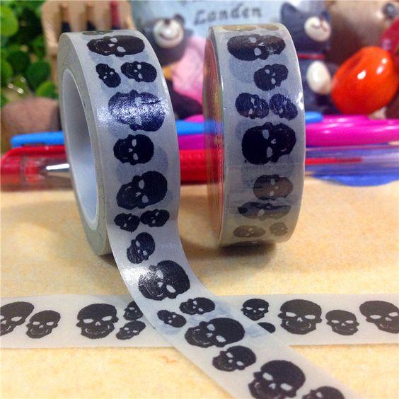 2015 nova desenho crânio preto fitas de papel washi fita adesiva decorativa fita de ferramentas scrapbooking adesivos papelaria D40 em Fita adesiva de Escritório & material escolar no AliExpress.com | Alibaba Group