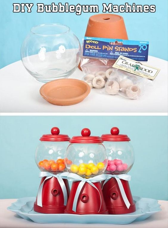 Make your own gum ball machine! : D <3  Image from http://www.awesomeinventions.com/wp-content/uploads/2014/10/diy-bubblegum-machines.jpg.