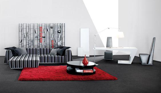 Sofa Slipcovers Simply Casa us SIMPLY SOFA Contemporary living room modern living room Black and white striped contemporary sofa red shaggy rug black kemistone coffee