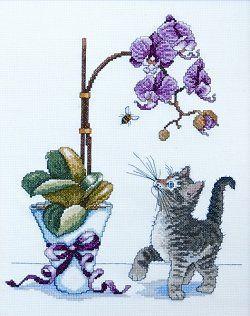 Gato e orquídea para bordar a ponto cruz , Esquemas de Ponto de Cruz