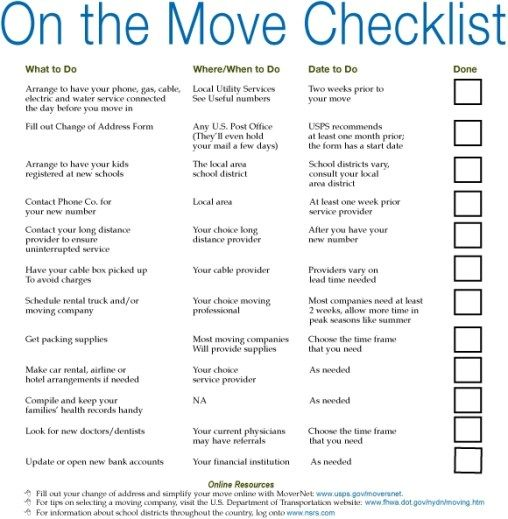 Simple Moving Checklist Template Excel Moving Checklist