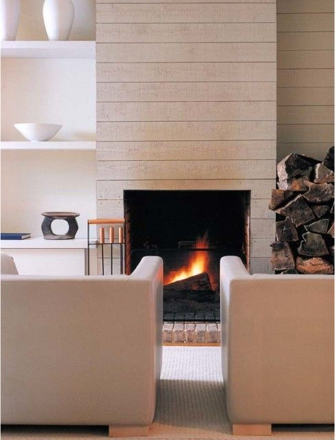 I like the wood idea but with a linear gas or electric fireplace instead. Stone hearth would be nice too.
