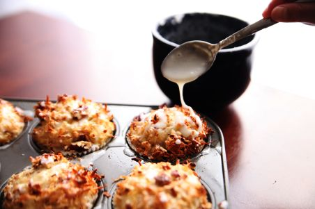 Coconut Pecan Lemon Glazed Muffins by Alice Currah for pbs.org: Will not disappoint! #Muffins #Coconut #Lemon #Alice_Currah #pbs_org