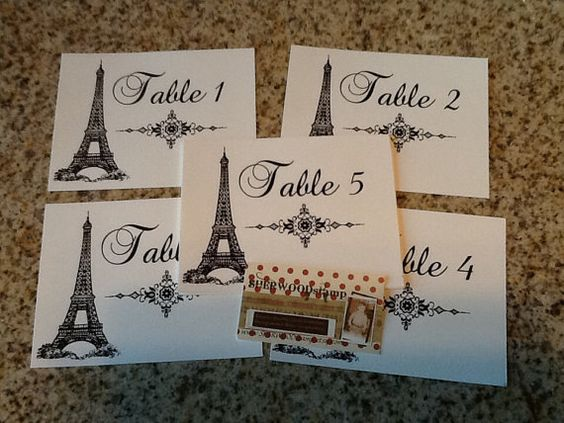 10 Paris Themed Table Numbers Cards Wedding by SHERWOODstamp