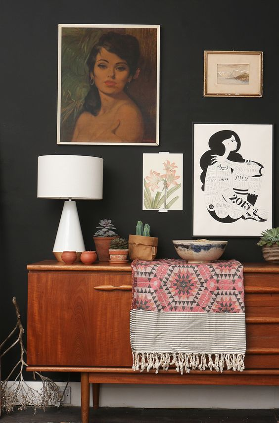 Mid Century Sideboard with a splash of Pink blanket joy.