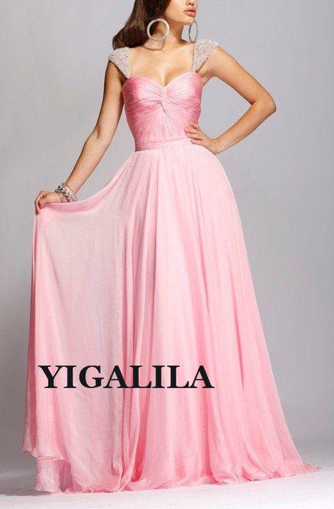 Lady dress/bridesmaid dress/wedding/prom dress/SILK CHIFFON/pink ...