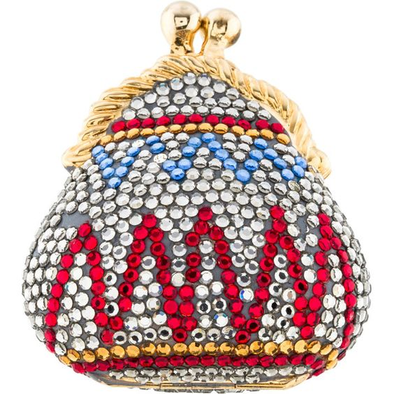Pre-owned Judith Leiber Embellished Purse Pillbox ($150) ❤ liked on Polyvore featuring bags, handbags, silver, silver handbags, white hand bags, white purse, silver purse and colorful handbags