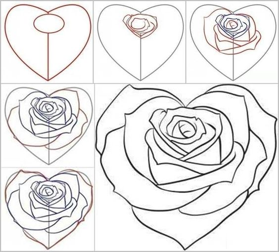 How to draw a rose from a heart pinterest cr atif - Rose facile a dessiner ...