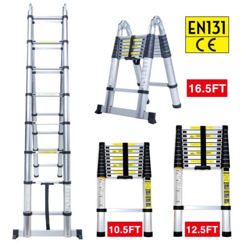 Ladders 112567 10 5ft 12 5ft 16 5ft Aluminum Multi Purpose Telescopic Ladder Extension Foldable Buy It Now On Telescopic Ladder Ladder Multi Purpose Ladder