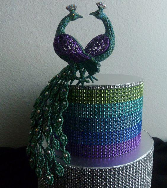 Rhinestone Peacock Cake Topper Purple Turquoise Teal Blue Silver Glitter Wedding Cake Topper