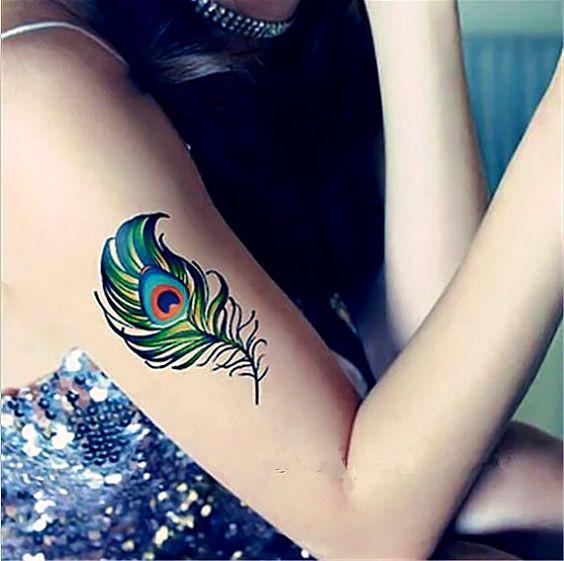 1pc vivid peacock feather temporary tattoo fake tattoo for Fake body tattoos