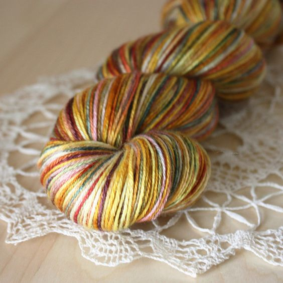 """""""vignoble"""" - glorious autumn color in 50/50 silk merino, hand dyed by phydeaux designs"""