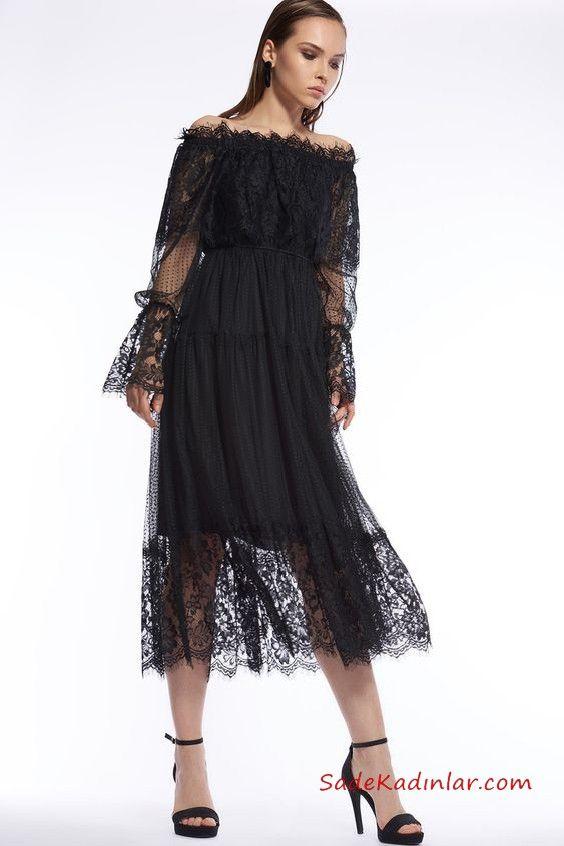 2019 Siyah Dantel Elbise Modelleri Siyah Uzun Omzu Acik Klos Etek Firfir Detayli Siyah Dantel Elbiseler Elbise Modelleri Elbise