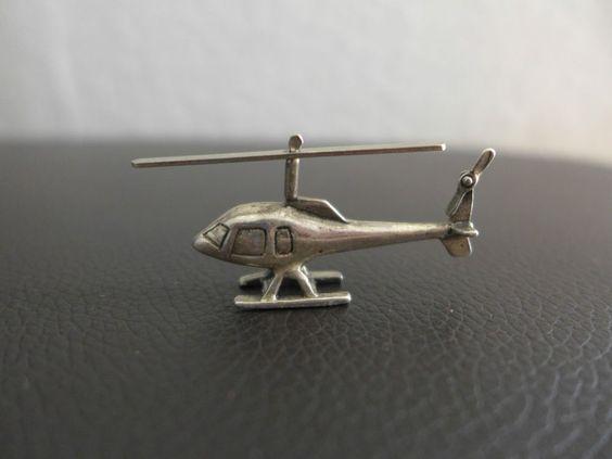 Hubschrauber Silber 925 Silberfigur Miniatur