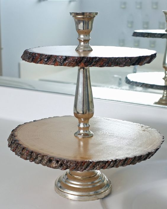 Rustic Glam Tiered Tray- made from a candle stick that is screwed together that she took apart and added the wood pieces from the craft store. i love this so much