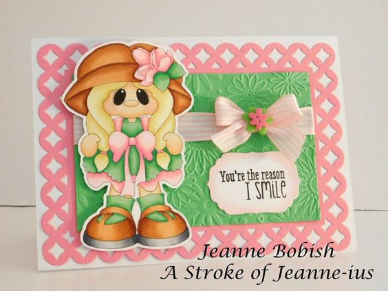 Pink and Green Reason I Smile Handmade   Greeting Card by A Stroke of Jeanne-ius #AStrokeofJeanneius #AnyOccasion