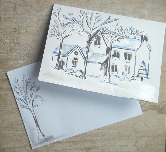 """Carte """"paysage de neige bleuté"""" peinte à la main avec enveloppe assortie."""